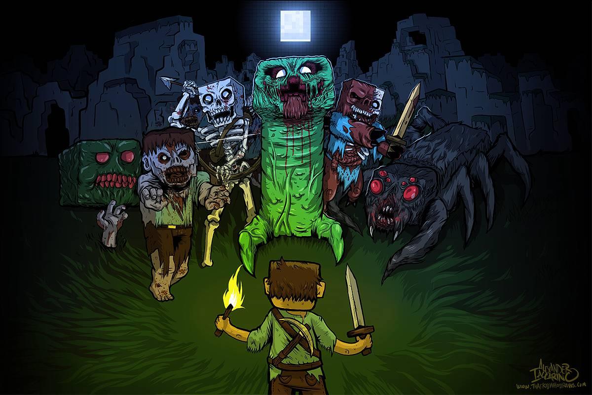 ... -zombies-mine-creeper-minecraft-artwork-spiders-notch-craft-wallpaper